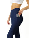 High Waisted Yoga Leggings - Navy Blue