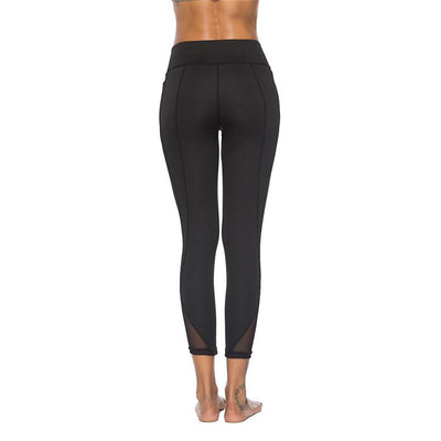 Womens Elastic Waist Mesh Workout Yoga Leggings with Lace Details
