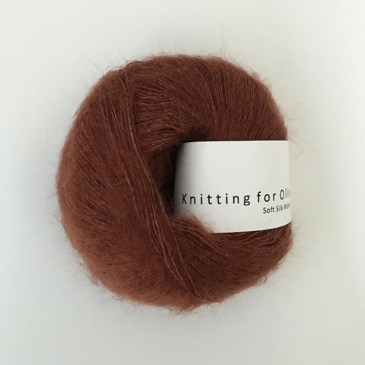 Knitting For Olive Soft Silk Mohair NY Rust garn