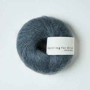 Knitting For Olive Soft Silk Mohair Støvet Petroleumsblå garn