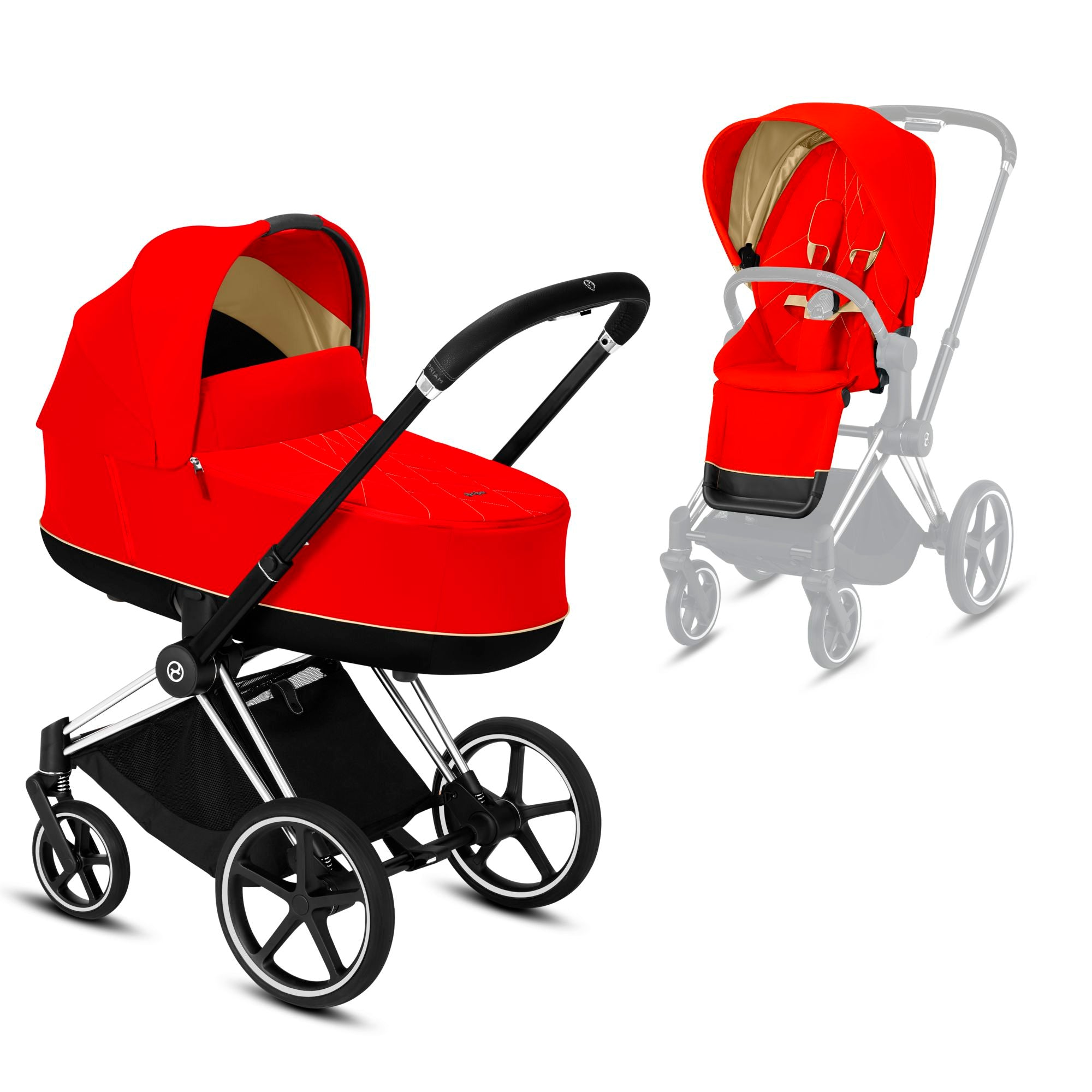 CYBEX Priam Carry cot 2 in 1 +  Chrome frame