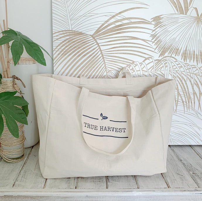 Canvas Pocket Tote Shopping Bag - True Harvest