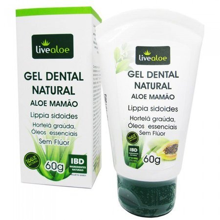 Gel Dental Natural - LiveAloe - Frasco com 60g - Mundo dos Óleos