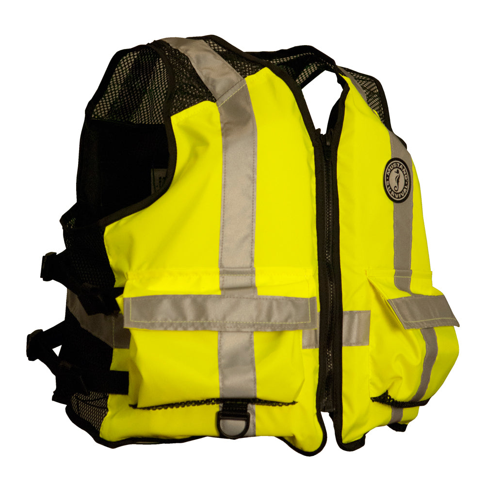 Mustang High Visibility Industrial Mesh Vest - L-XL - Yellow-Black [MV1254T3-L-XL]