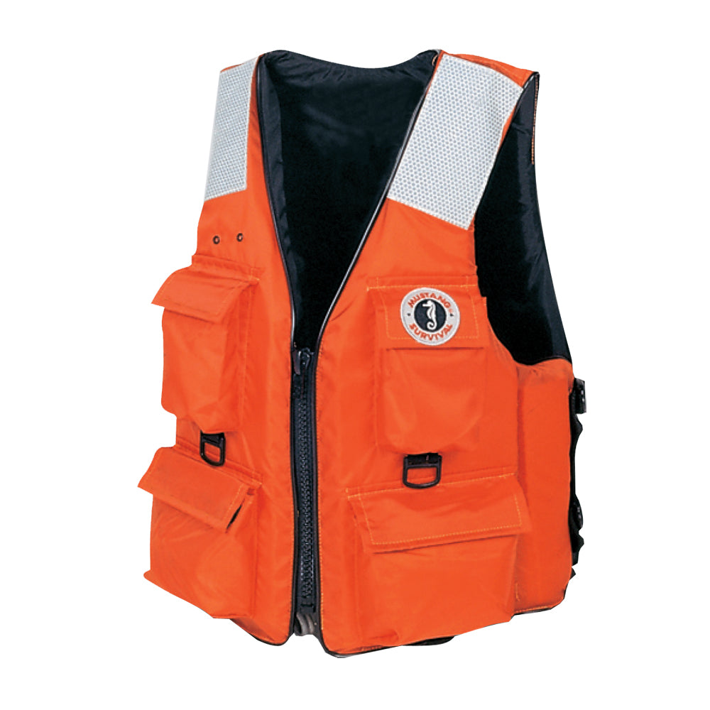 Mustang 4-Pocket Vest w-SOLAS Reflective Tape - XXL - Orange [MV3128T2-XXL-OR]