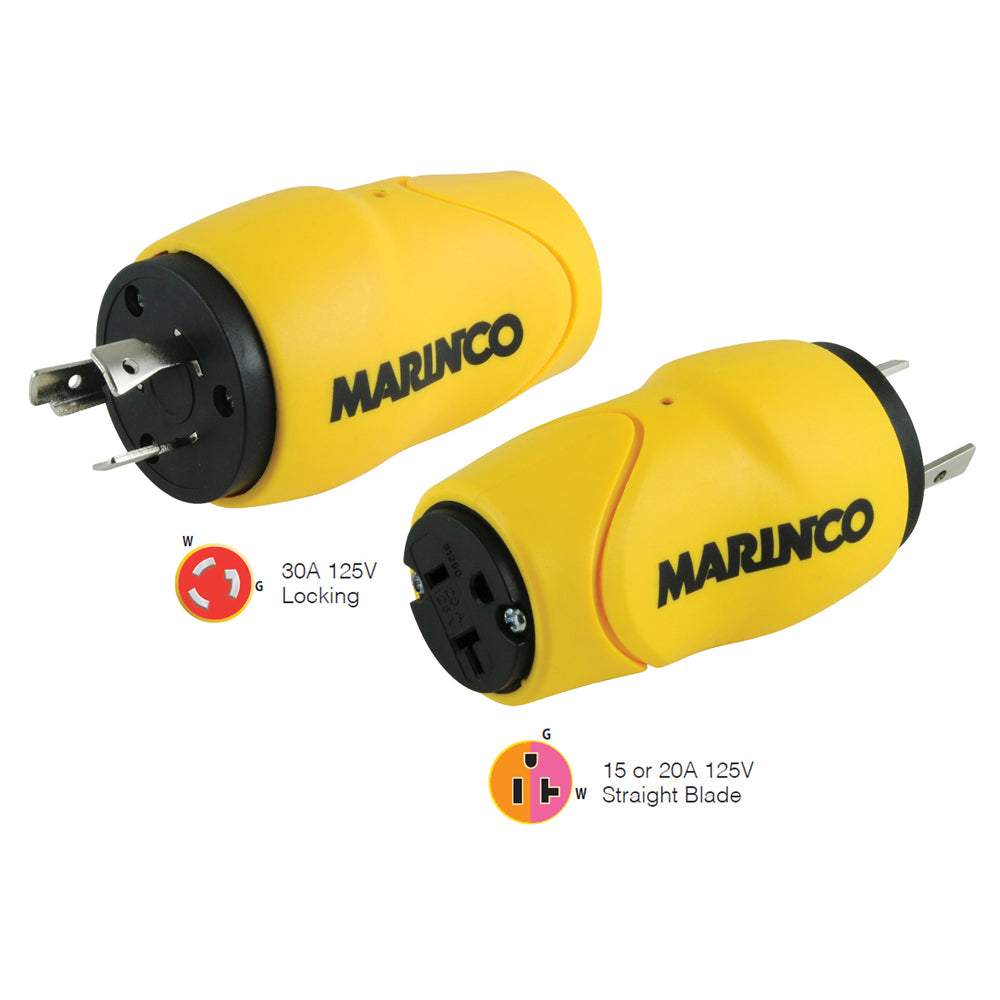 Marinco Straight Adapter, 30A Male - 15A Female [S30-15]