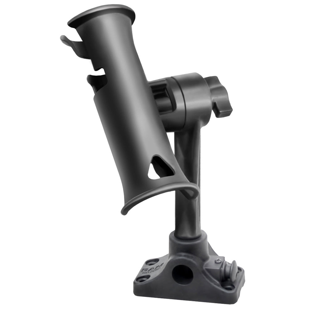 "RAM Mount RAM Tube Jr. Fishing Rod Holder, Standard 6"" Length Post Spline & Combo Bulkhead-Flat Surface Base w-Plunger [RAP-390-BMPU]"