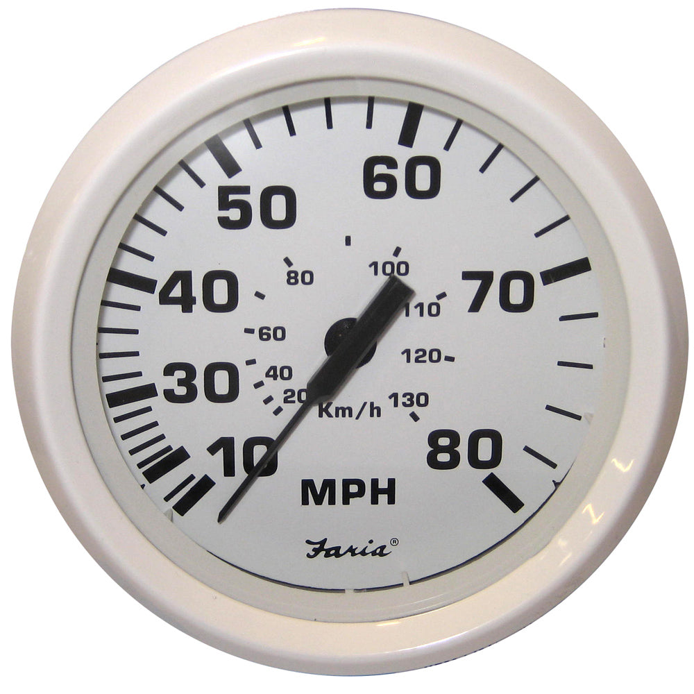 "Faria Dress White 4"" Speedometer - 80MPH (Mechanical) [33113]"