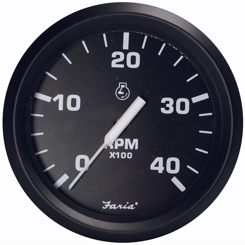 "Faria Euro Black 4"" Tachometer - 4,000 RPM (Diesel - Magnetic Pick-Up) [32803]"