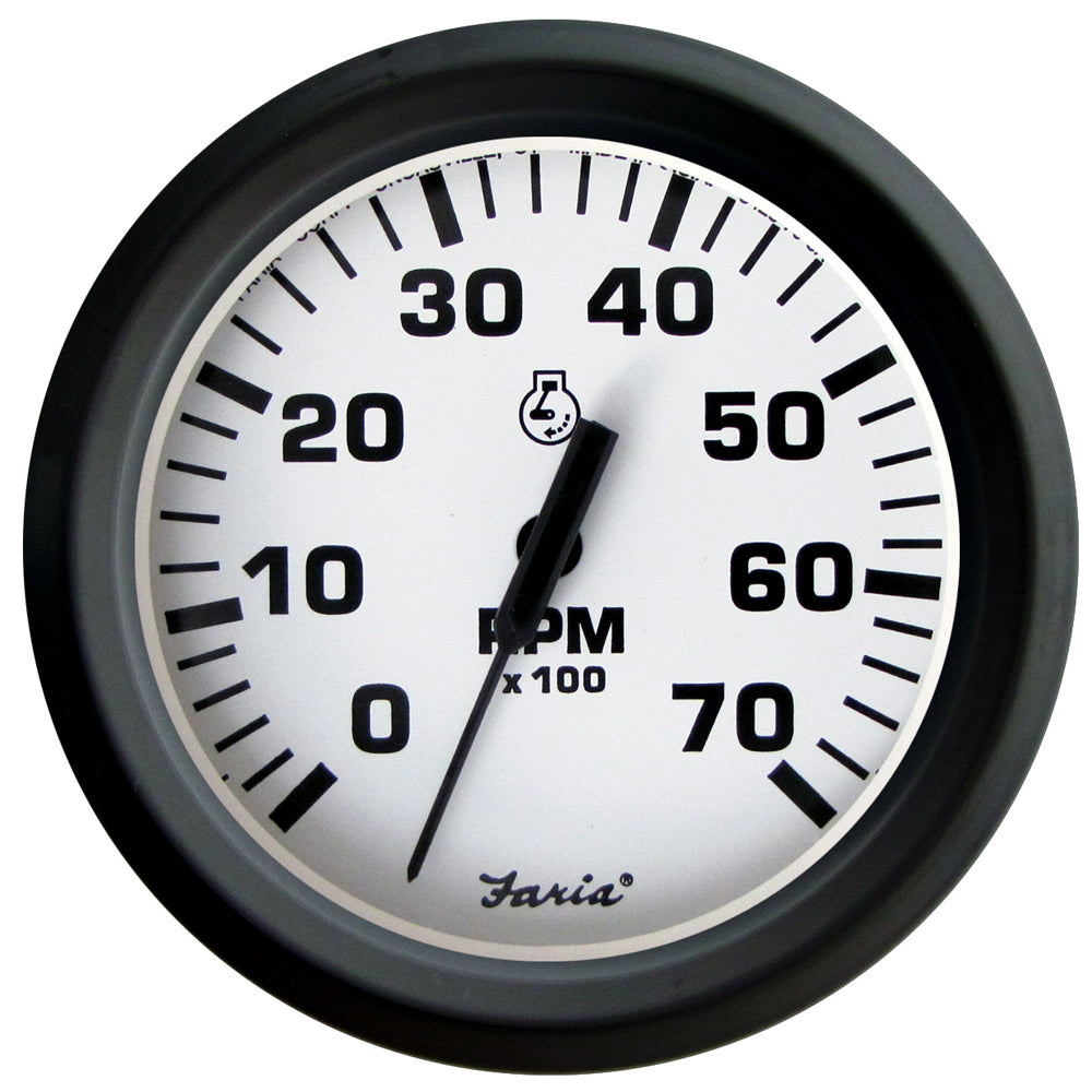 "Faria Euro White 4"" Tachometer - 7,000 RPM (Gass - All Outboards) [32905]"