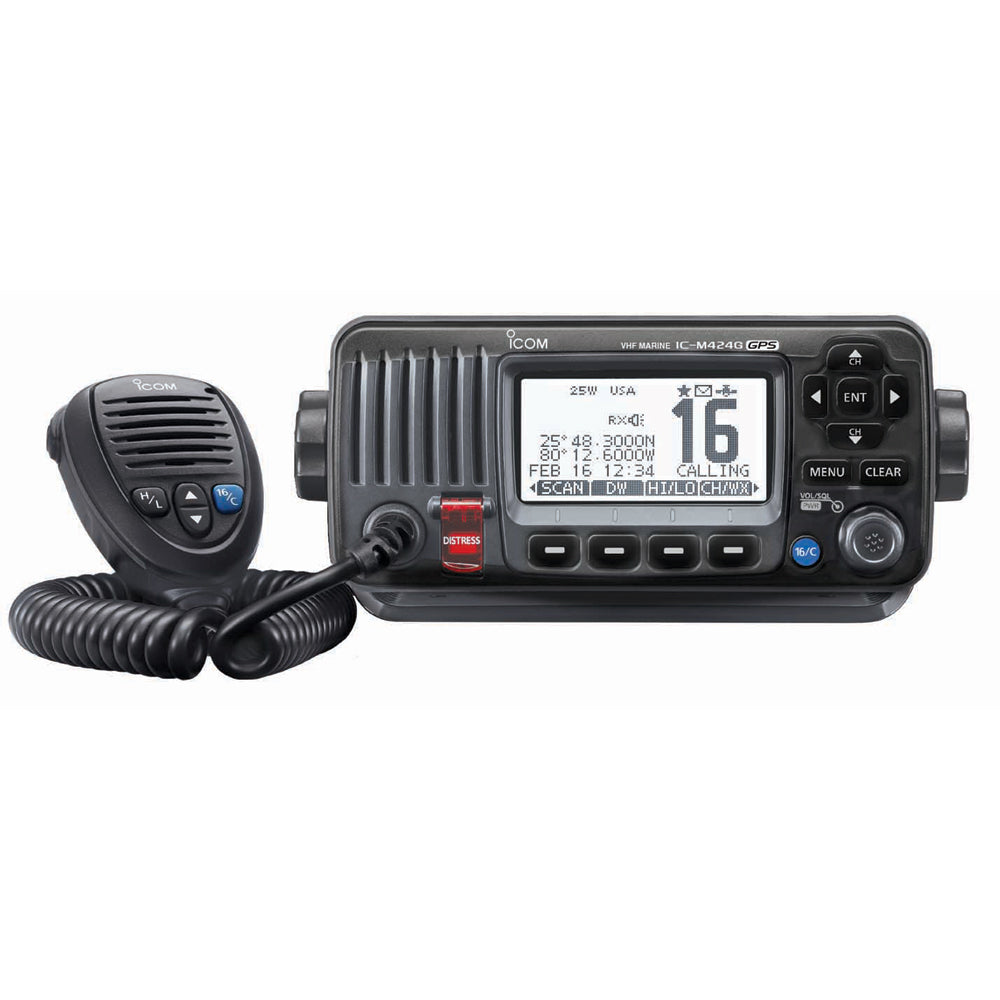 Icom M424G Fixed Mount VHF Marine Transceiver w-Built-In GPS - Black [IC-M424G 21]