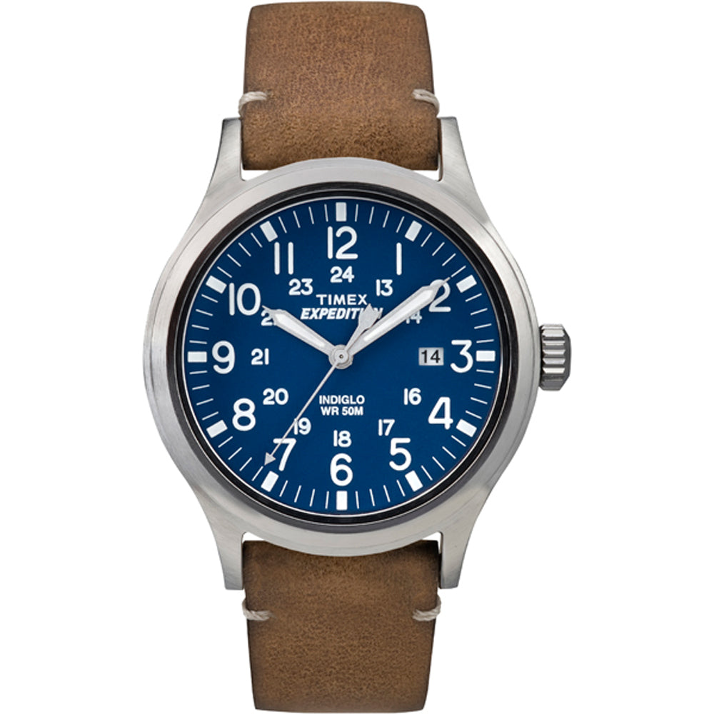 Timex Expedition Metal Scout - Tan Leather-Blue Dial [TW4B018009J]