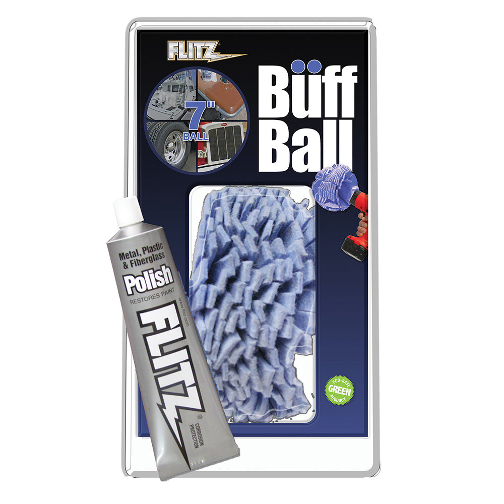 "Flitz Buff Ball - Extra Large 7"" - Blue w-1.76oz Tube Flitz Polish [WB 201-50]"
