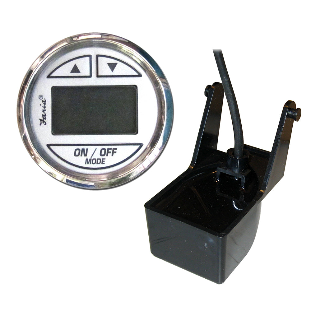 "Faria Chesapeake SS White 2"" Depth Sounder w-Transom Mount Transducer [13850]"