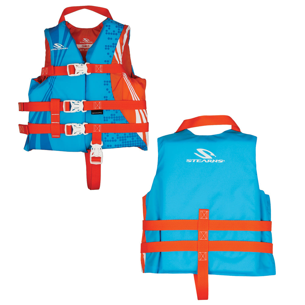 Stearns Child Antimicrobial Nylon Life Vest - 30-50lbs - Wave [2000029257]