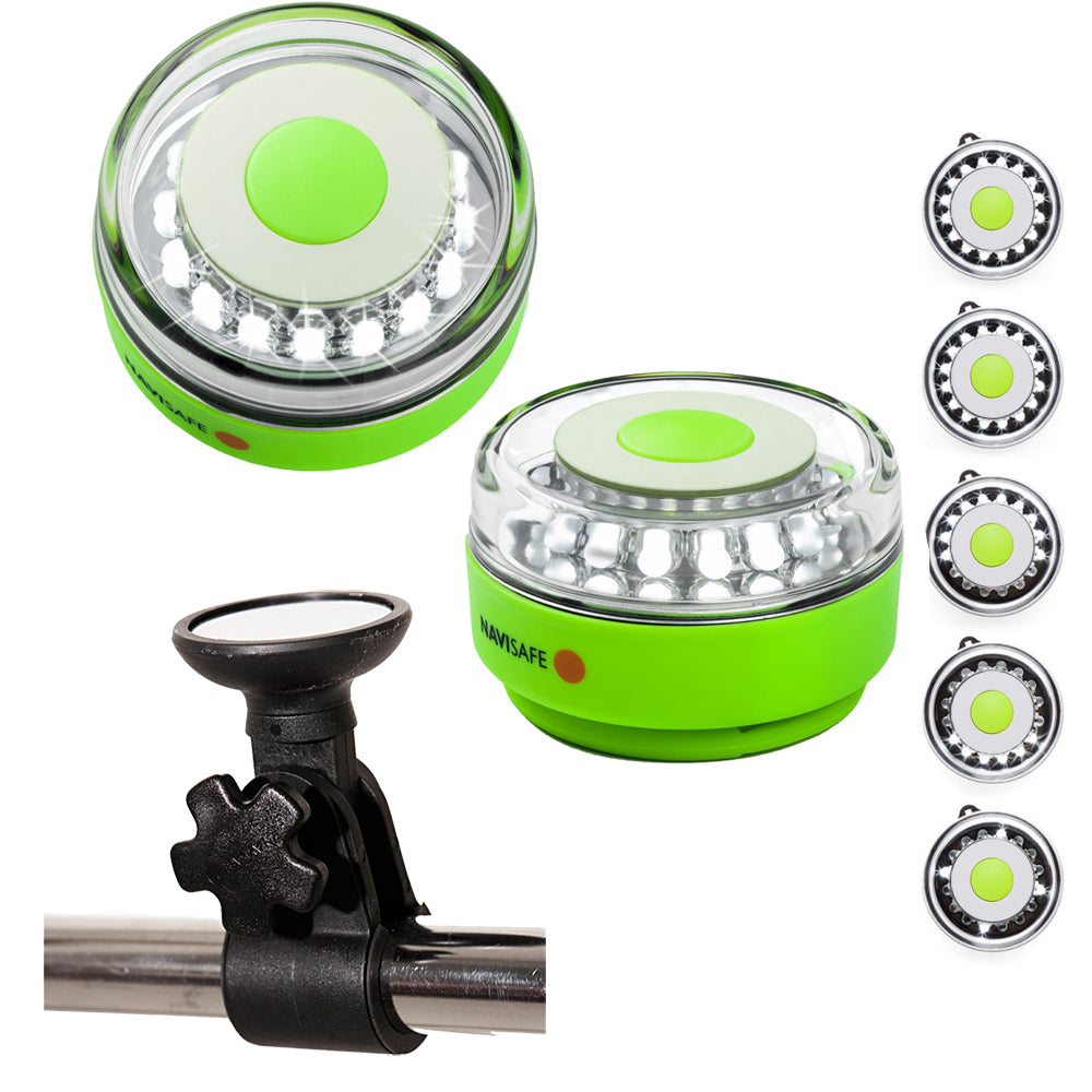 Navisafe Portable Navilight 360 2NM Rescue - Glow in The Dark - Green w-Clamp-On Rail Mount [010KIT]