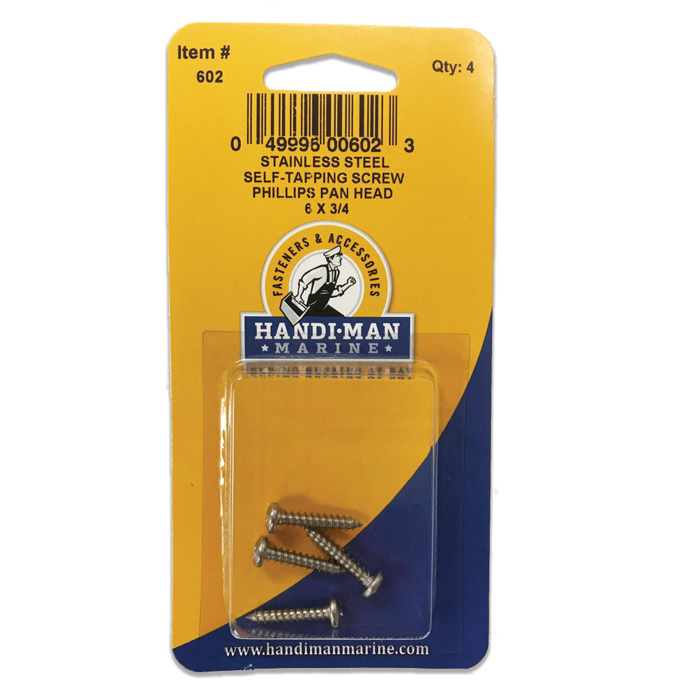 Handi-Man Stainless Steel Phillips Self Tapping Pan Screw - 6 x 3-4 [602]