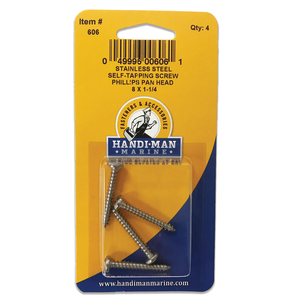 Handi-Man Stainless Steel Phillips Self Tapping Pan Screw - 8 x 1-1-4 [606]