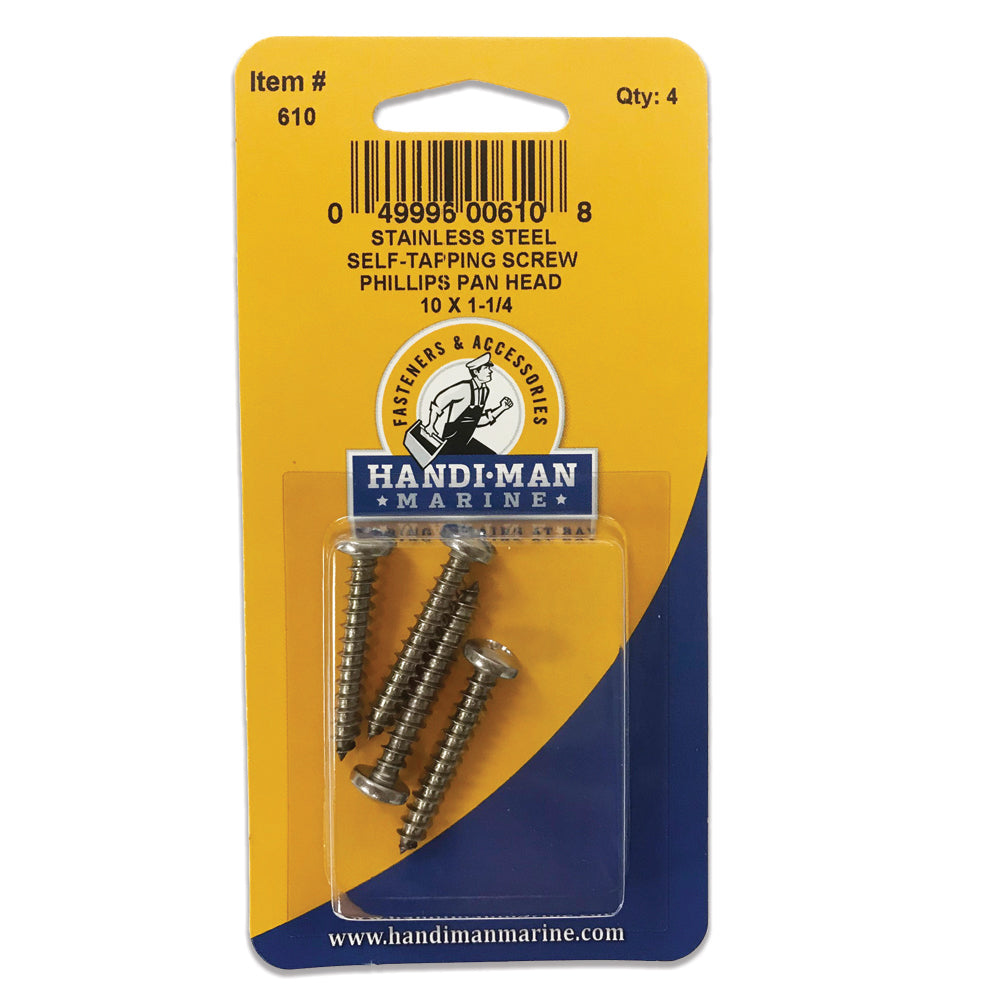 Handi-Man Stainless Steel Phillips Self Tapping Pan Screw - 10 x 1-1-4 [610]
