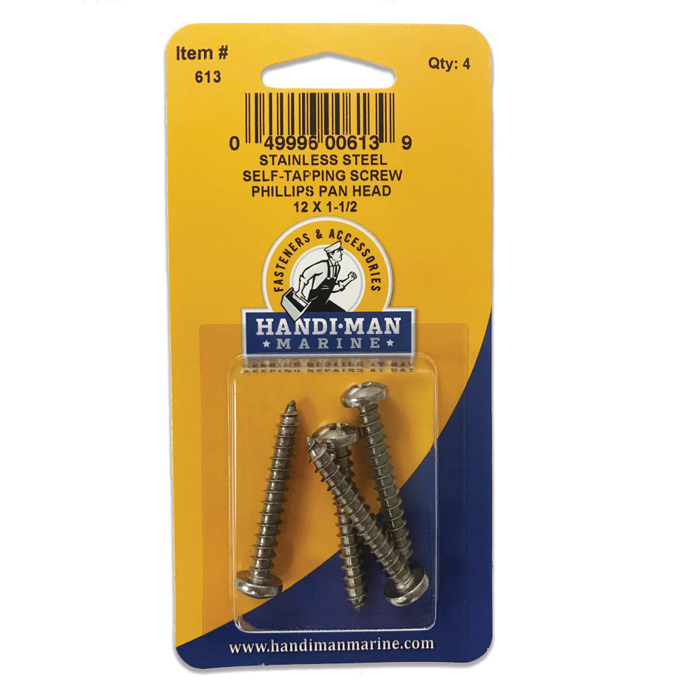 Handi-Man Stainless Steel Phillips Self Tapping Pan Screw - 12 x 1-1-2 [613]