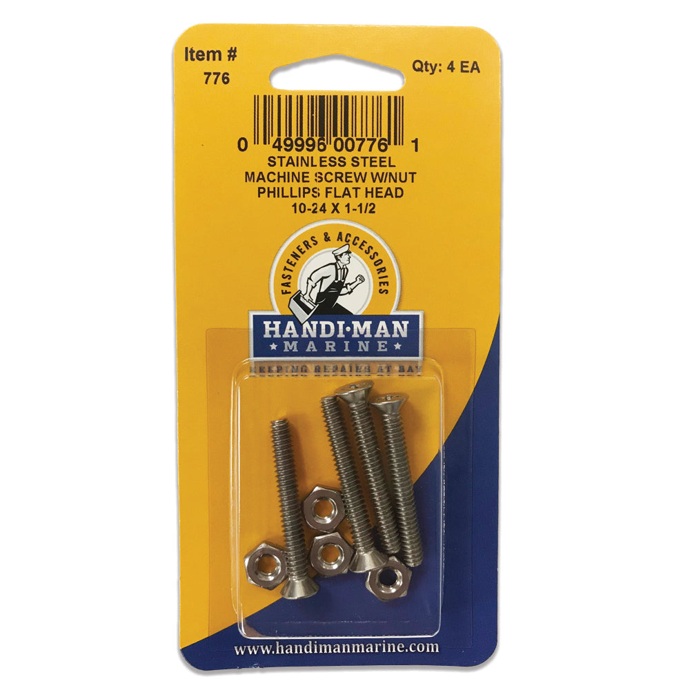 Handi-Man Stainless Steel Phillips Machine Flat Screw 10-24 x 1-1-2 [776]