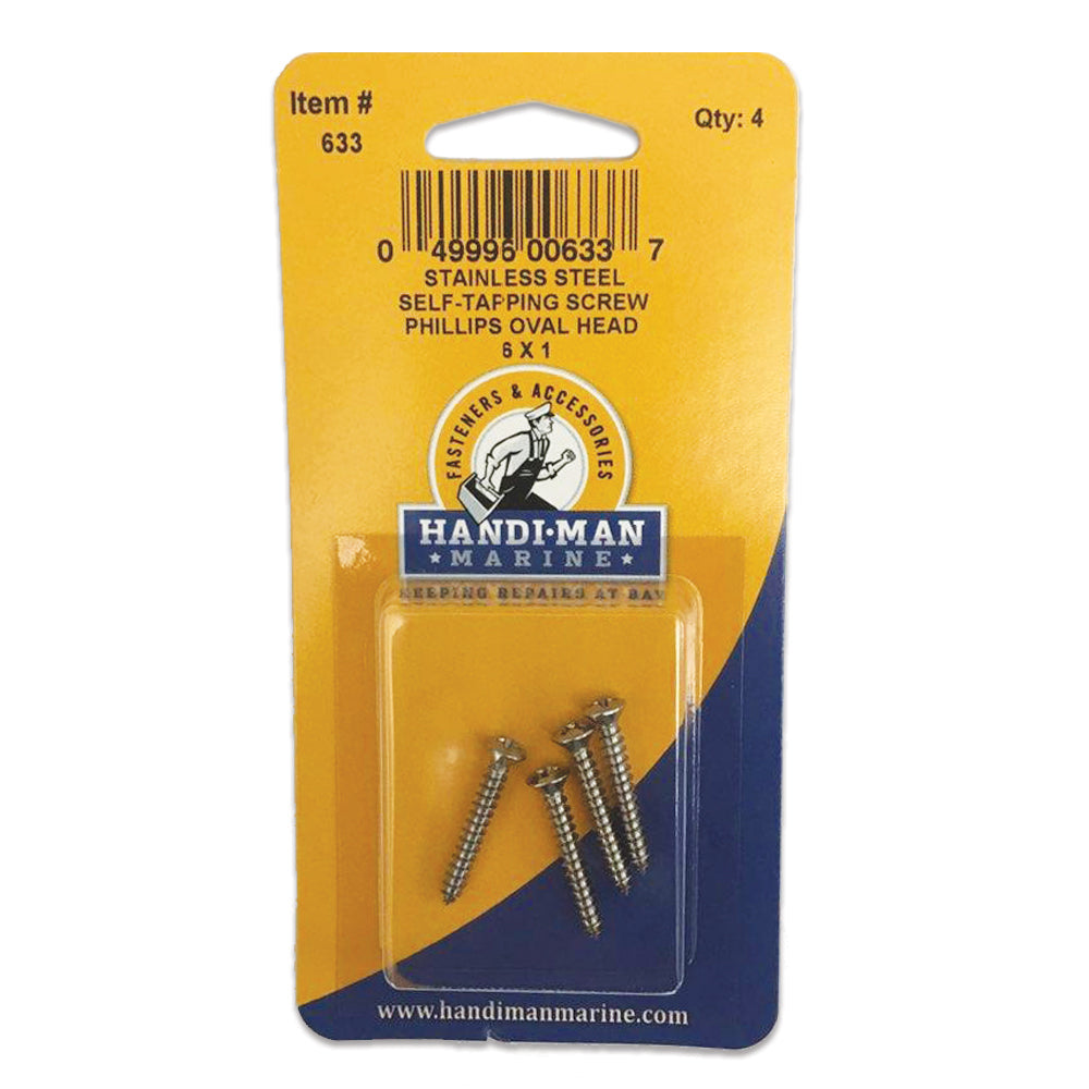 Handi-Man Phillips Self Tapping Oval Screw - 6 x 1 [633]