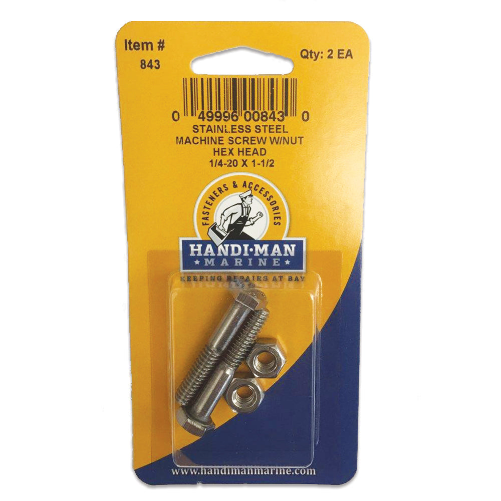 Handi-Man Stainless Steel Hex Head Cap Screw - 1-4-20 x 1-1-2 [843]