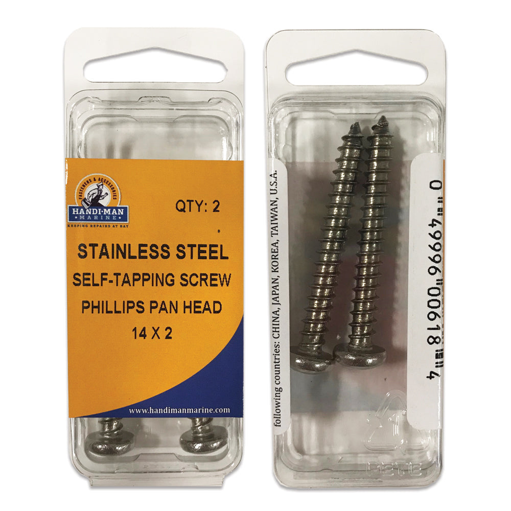"Handi-Man Phillips Self Tapping Pan Head Screw - #14 x 2"" [618]"