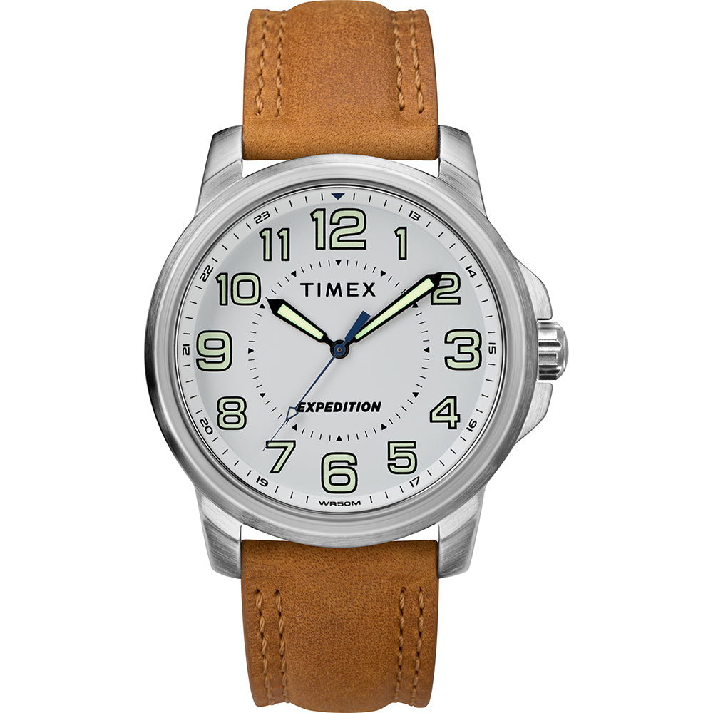Timex Mens Expedition Metal Field Watch - White Dial-Brown Strap [TW4B16400JV]