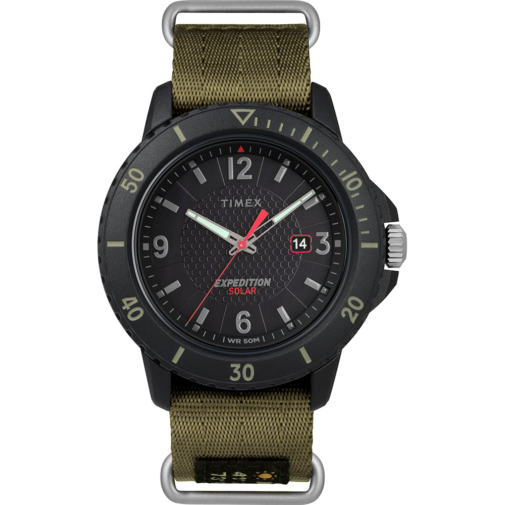 Timex Gallatin Nylon Slip-Thru Watch - Solar Green-Black Dial [TW4B14500JV]