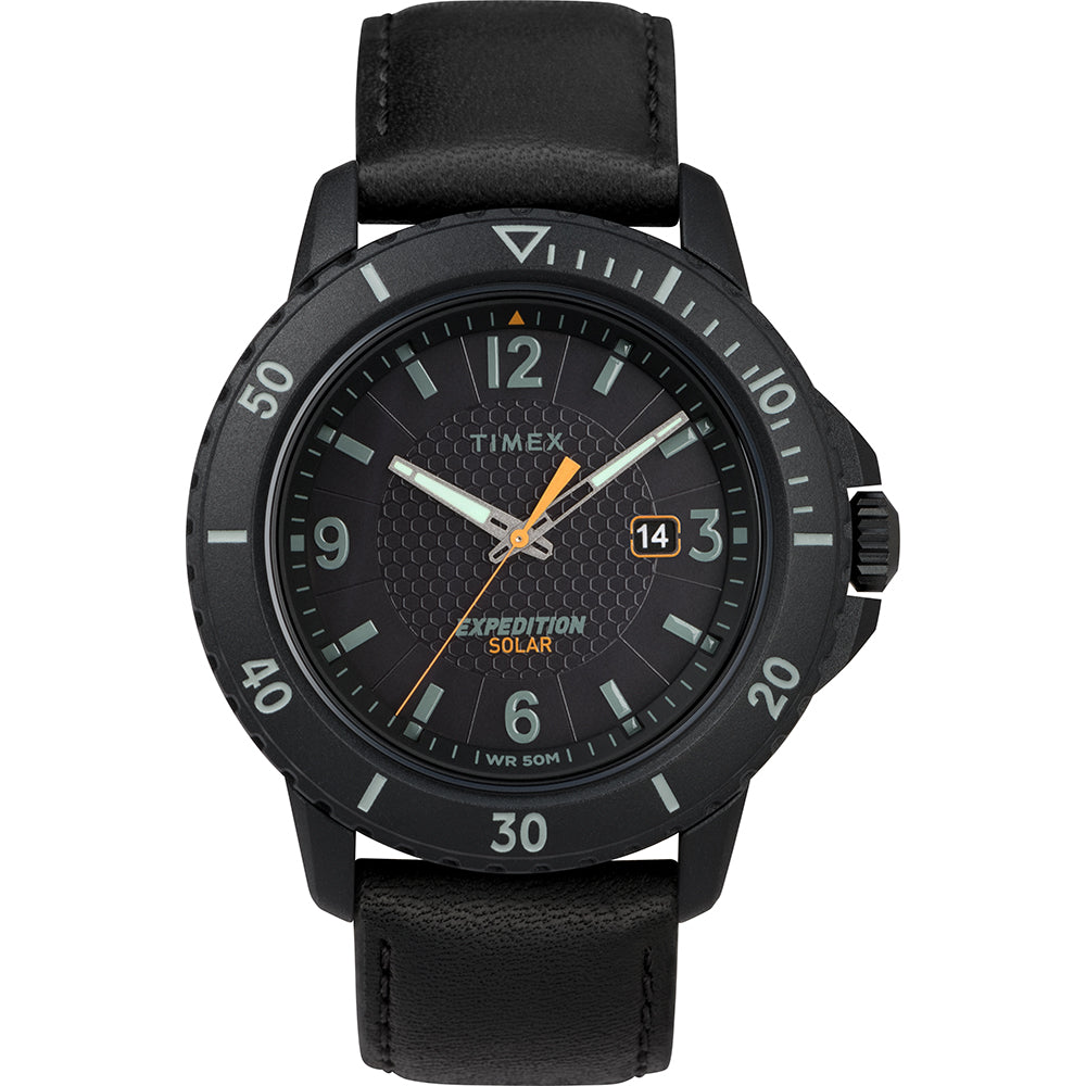 Timex Gallatin Solar Watch - Leather Strap-Black Dial [TW4B14700JV]