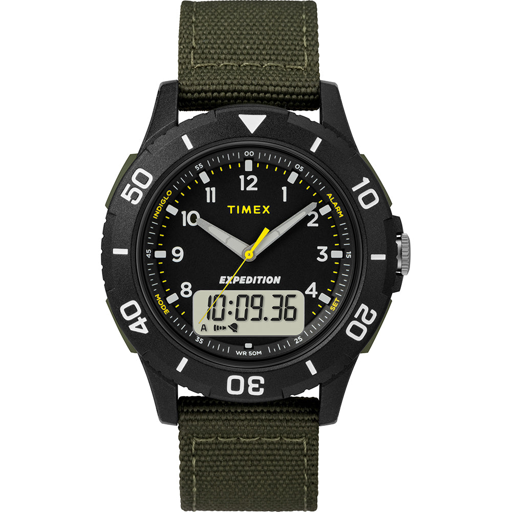 Timex Expedition Katmai Combo 40mm Watch - Black Case  Dial-Green Strap [TW4B16600JV]