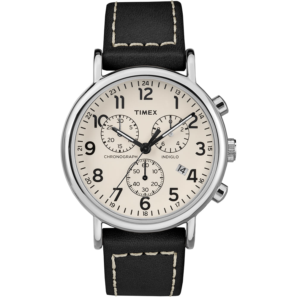 Timex Mens Weekender Chronograph 40mm Watch - White Dial-Black Leather Strap [TW2R42800JV]