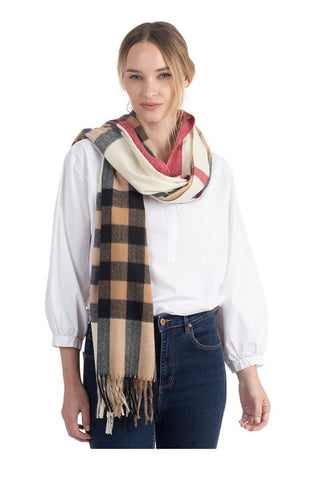 Plaid Fringe Scarf - Cream