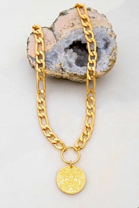 Textured Chain with Coin Pendant Necklace