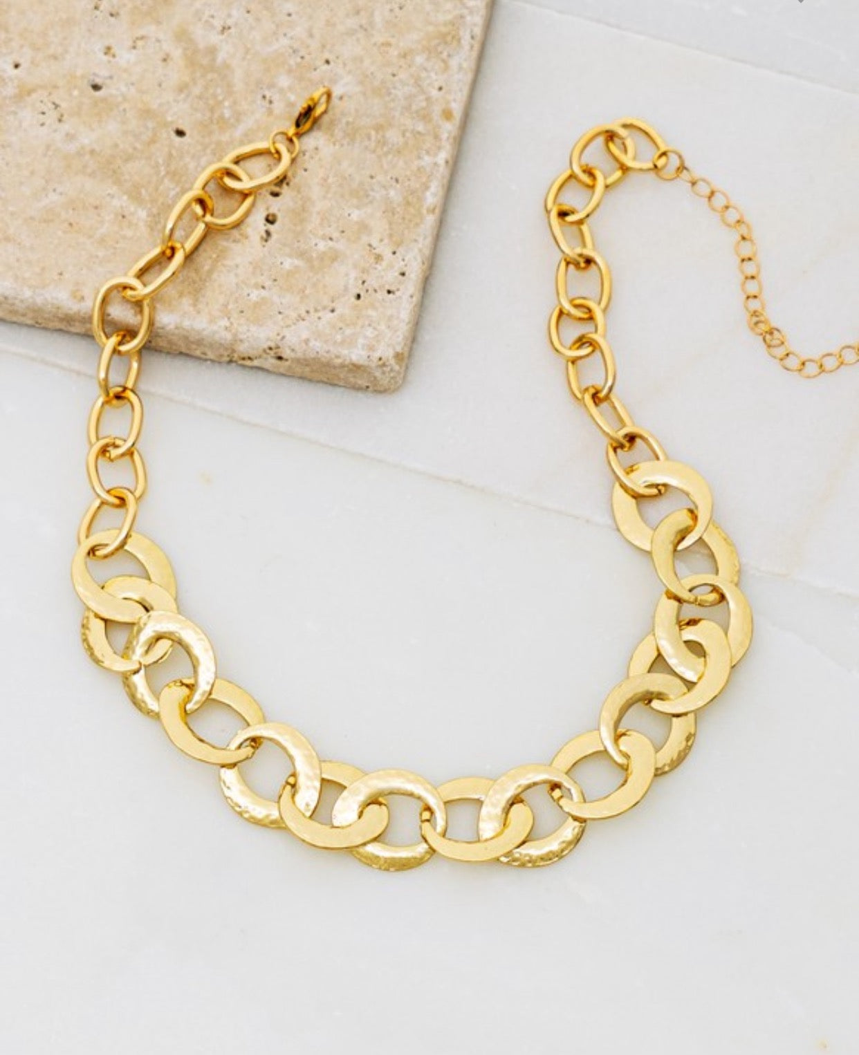 Hammered Casting Linked Loop Chain Necklace