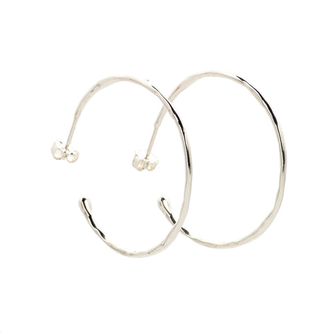 Large Melt Silver Hoops