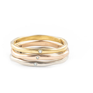 Thinnest Melt Gold Band with Diamond - Johanna Brierley Jewellery Design
