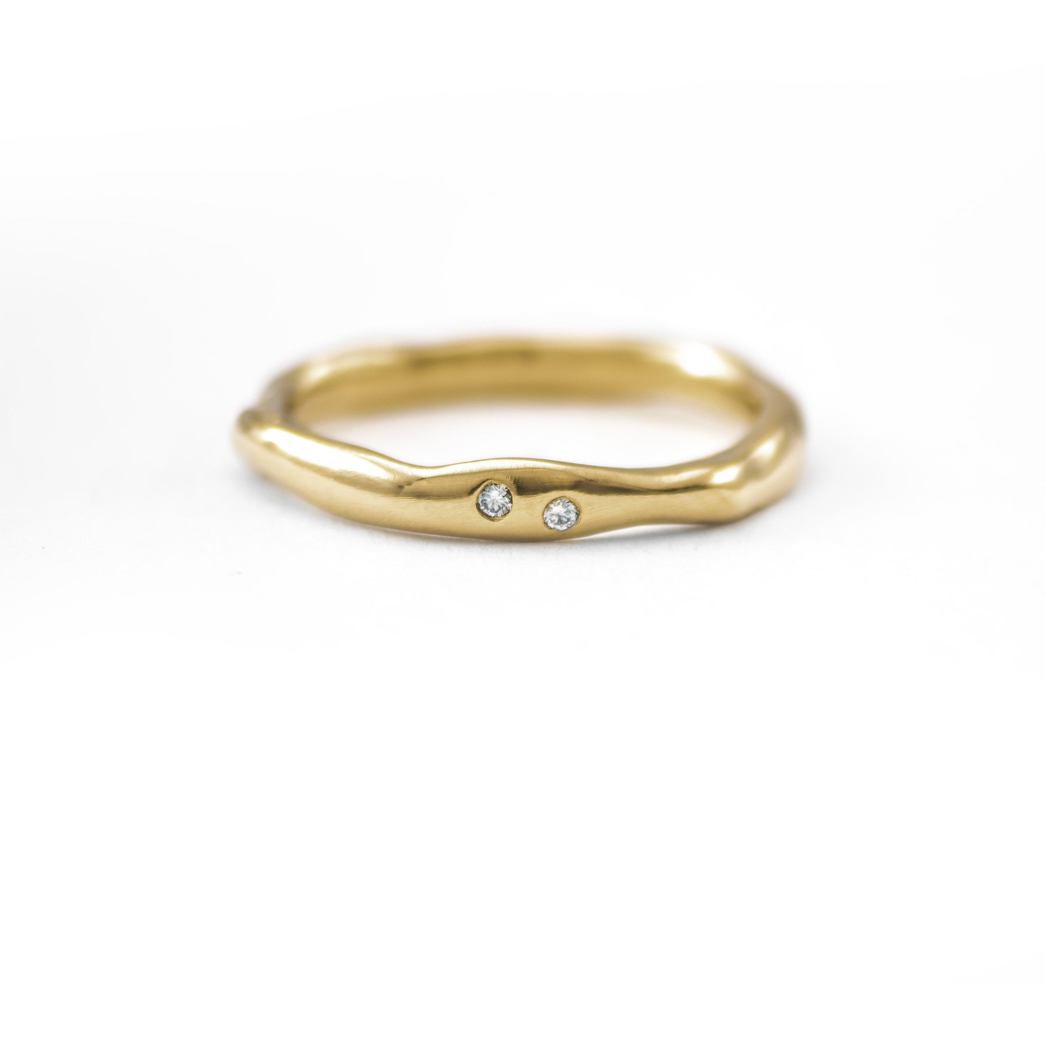 Thin Melt Gold Band with Two Diamonds - Johanna Brierley Jewellery Design