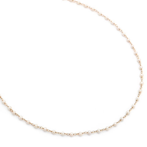 White Pearls Tied in 14k Yellow Necklace