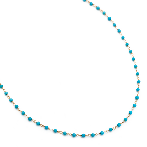 Sleeping Beauty Turquoise Tied with 14k Yellow Necklace