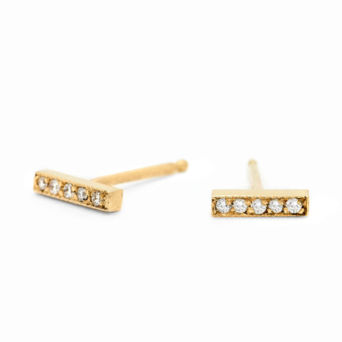 Short Stick Gold Earrings with Pave Diamonds - Johanna Brierley Jewellery Design