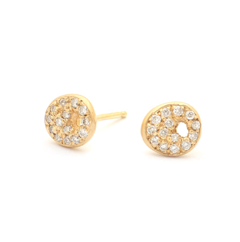 Sequin Gold Earrings with Pave Diamonds - Johanna Brierley Jewellery Design