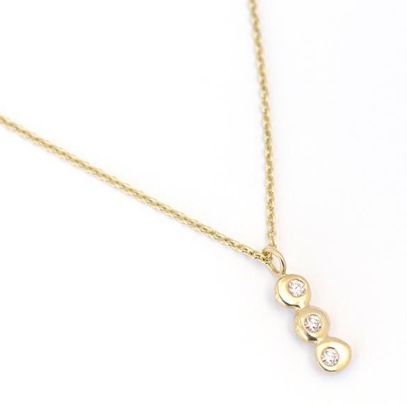 Three Dot Vertical Necklace with Diamonds - Johanna Brierley Jewellery Design