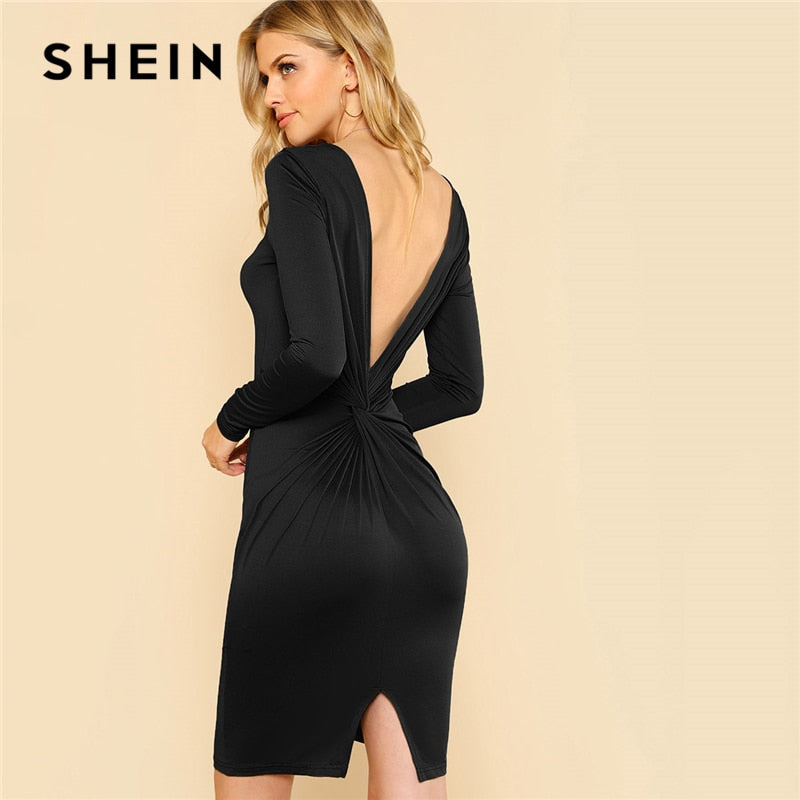 2a5b159e55a0 SHEIN Black Solid Backless Split Twist Sexy Dress 2018 Autumn Long Sle