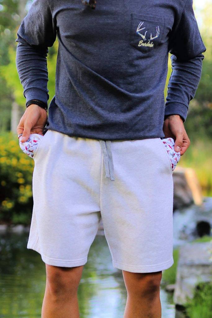 Oatmeal Fleece Shorts-Duck Pocket