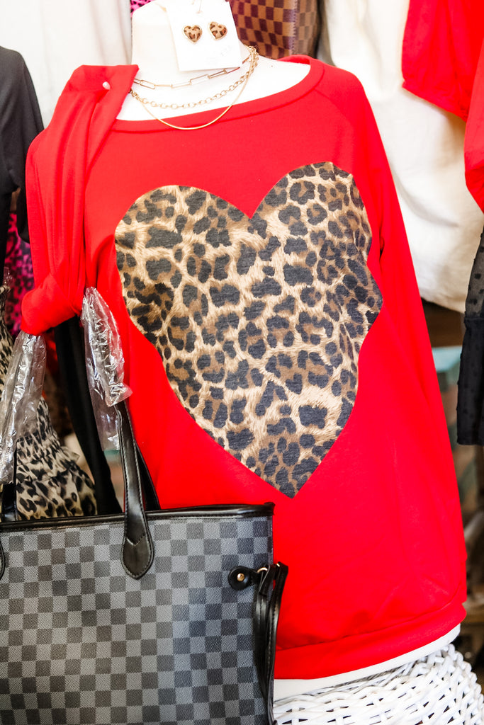Leopard Heart Sweater