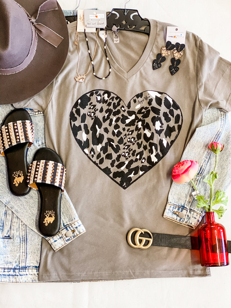 Grey Leopard Heart Tee