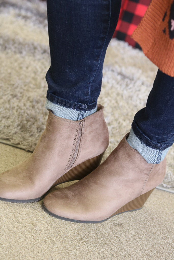 taupe bootie wedge