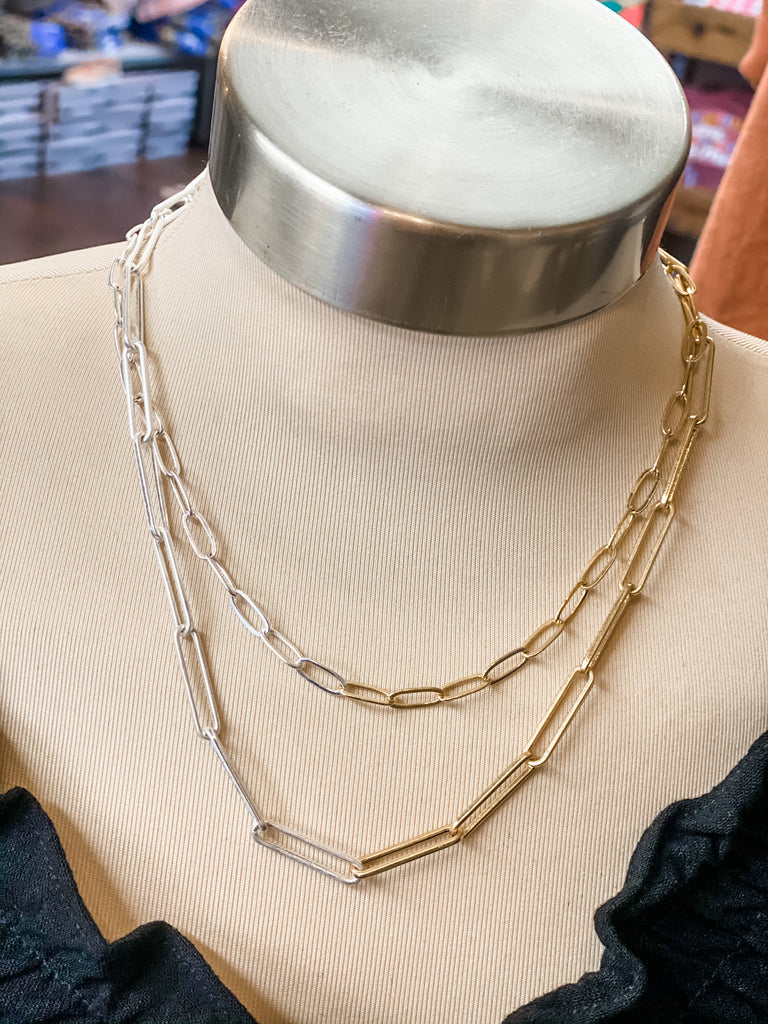 dual tone chain link necklace